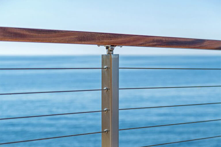 cable railing post with wood handrail