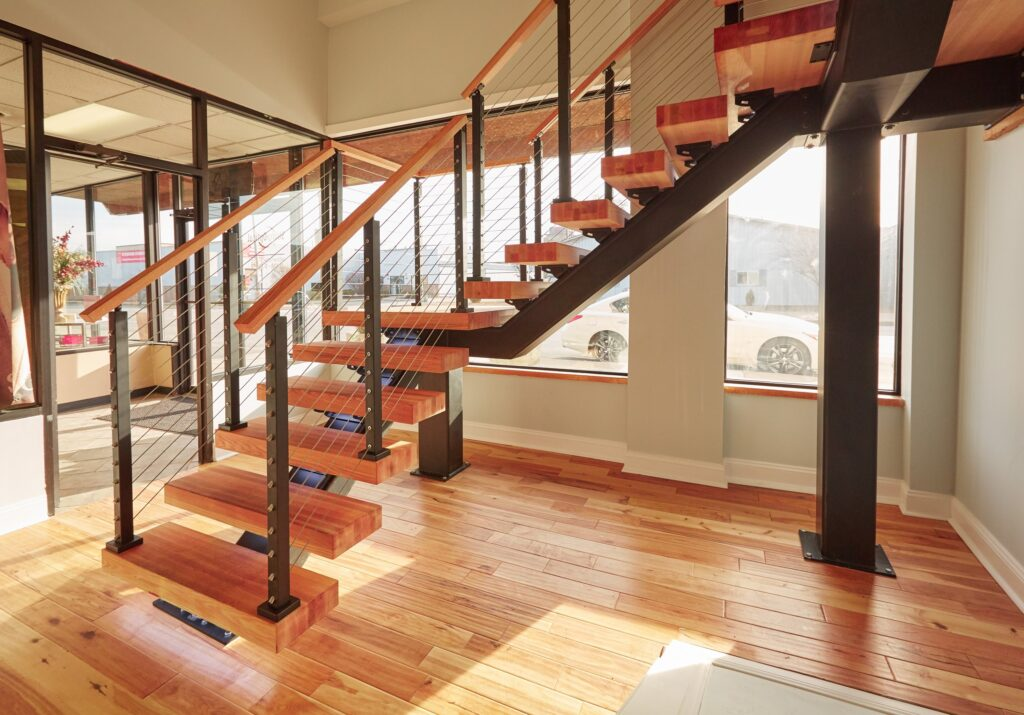 Custom Stringer Floating Stairs Design