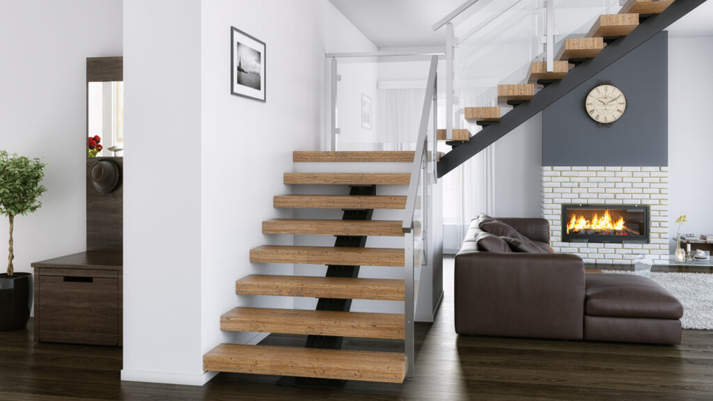 90 Degree Turn Stringer Floating Stairs Design
