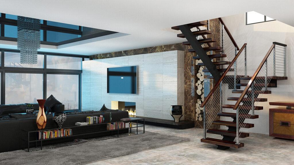 Interior Living Room FLIGHT Floating Stairs