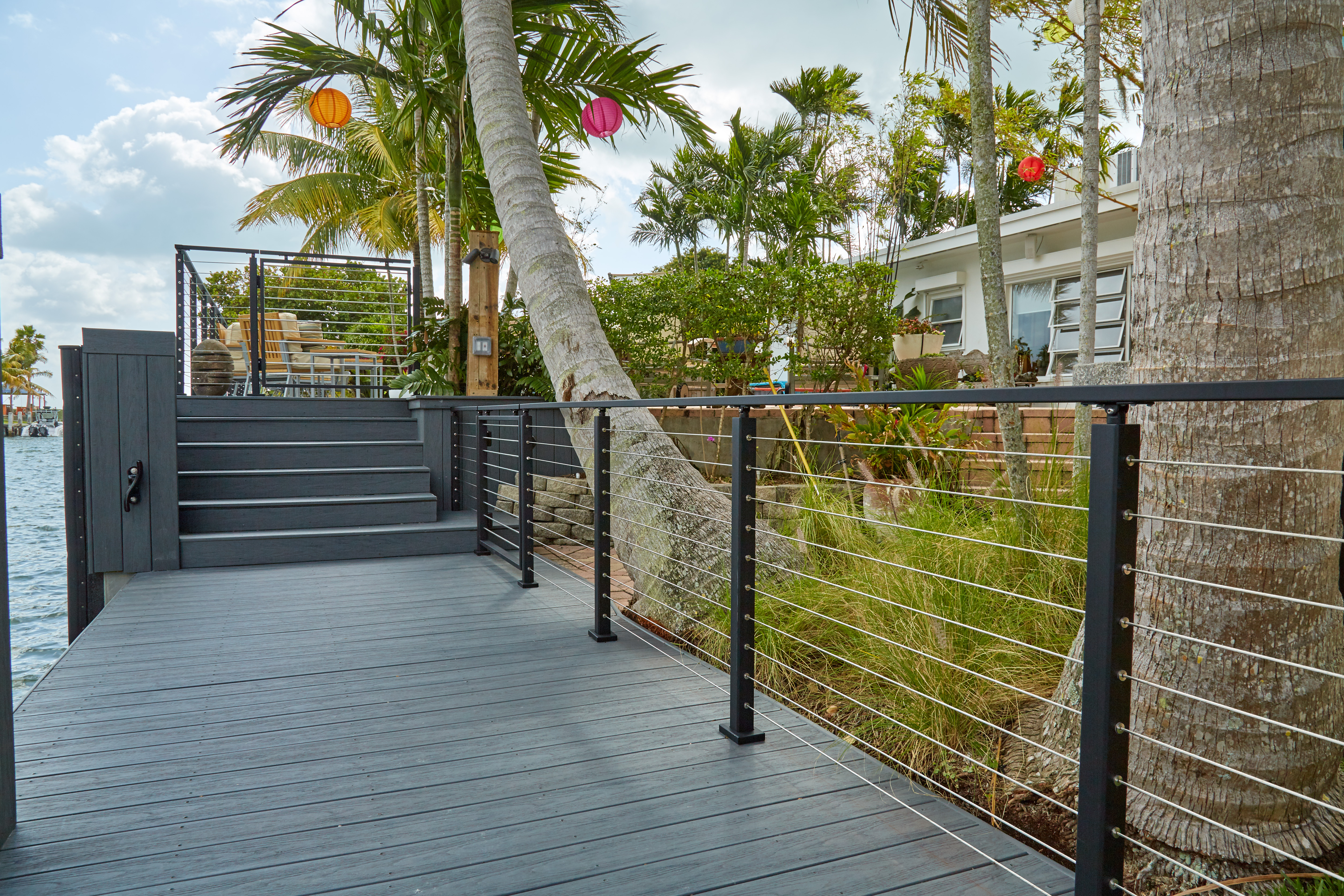 Miami Oceanside Deck With Black Cable Railing Viewrail