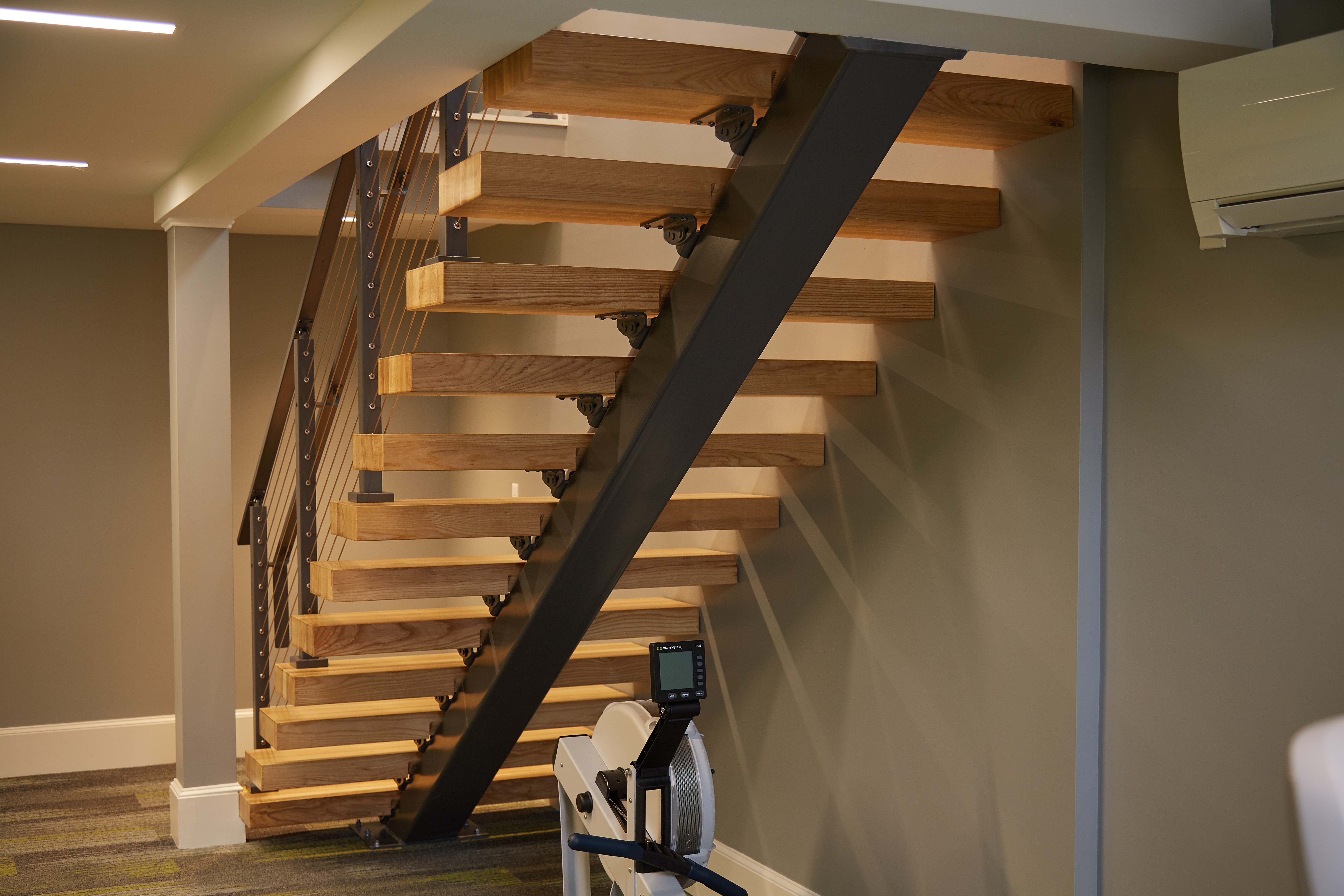 Floating Staircase Install In Modern Gym Viewrail