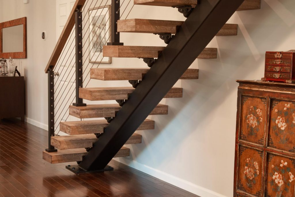 black stair stringer in contemporary