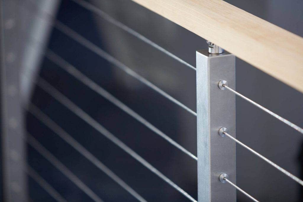 Close Up of Rod Railing with Wooden Handrail
